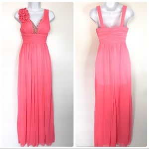Jodi kristopher pink formal prom maxi dress size 1